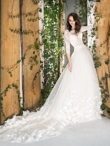 3/4 sleeve ball gown wedding dress