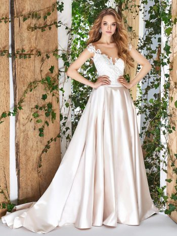 Off-the-shoulder ball gown wedding dress with lace embroidered bodice