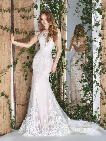 Off-the-shoulder long sleeve wedding dress with plunging neckline
