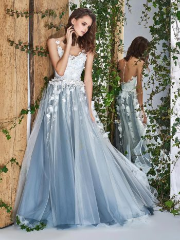 Ball gown wedding dress with 3D flowers and illusion neckline