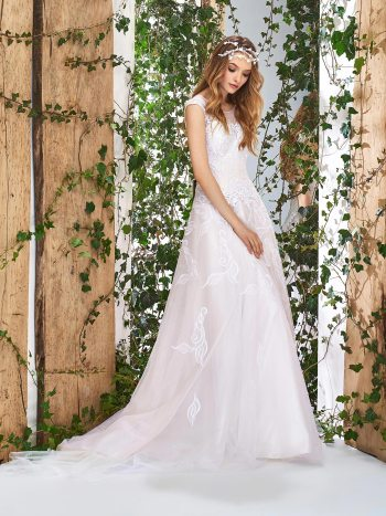 A-line wedding dress with floral lace appliques