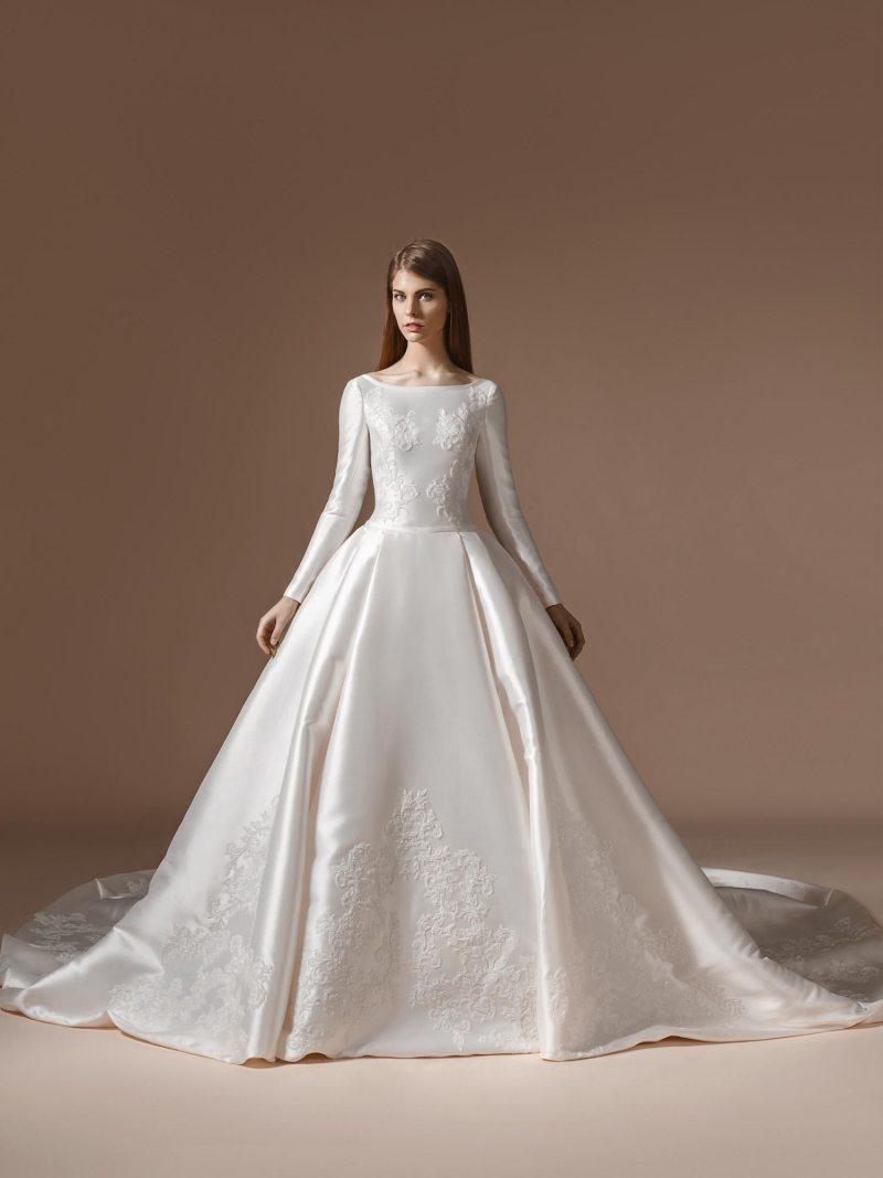 Dramatic long sleeve Mikado ball gown wedding dress