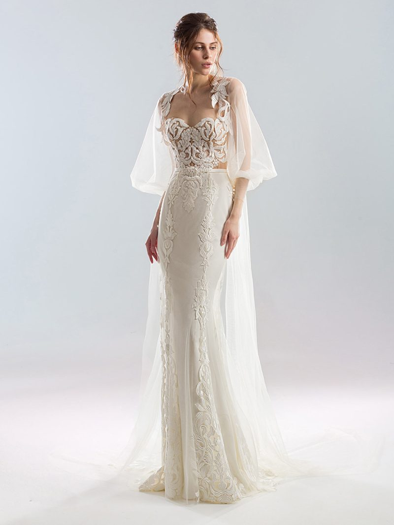 Fit and flare strapless wedding gown with lace bodice and applique