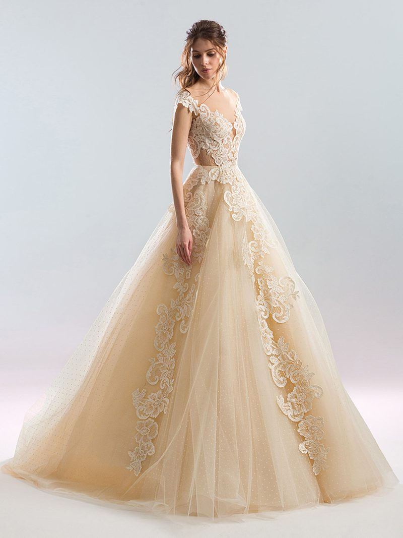 Ball gown lace wedding dress with cap sleeves and polka dot lace