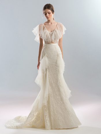 Fitted wedding dress with ruffle details