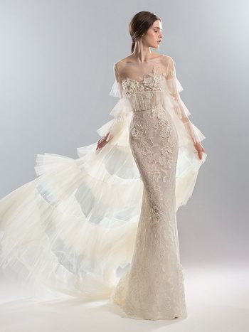 Fit and flare wedding dress with cape
