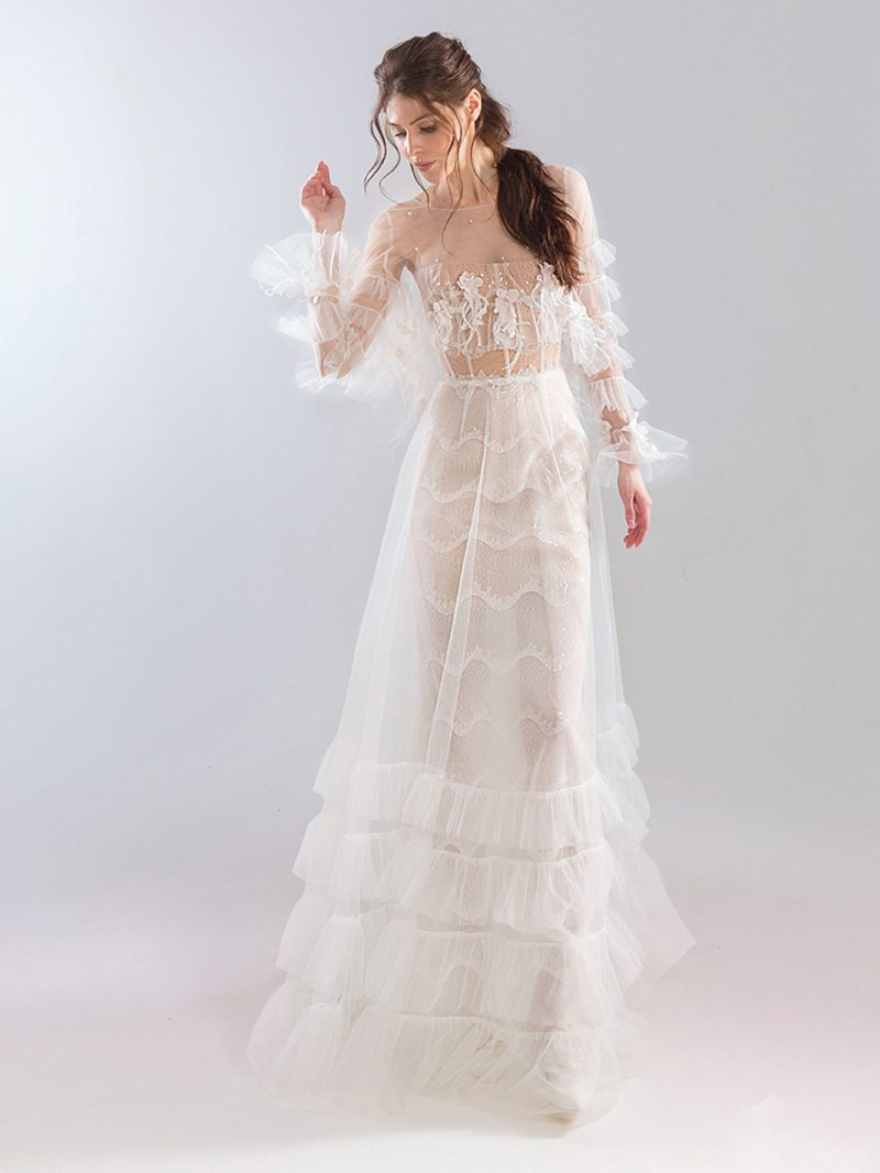 Bustier style strapless sheath wedding dress with tiered tulle skirt