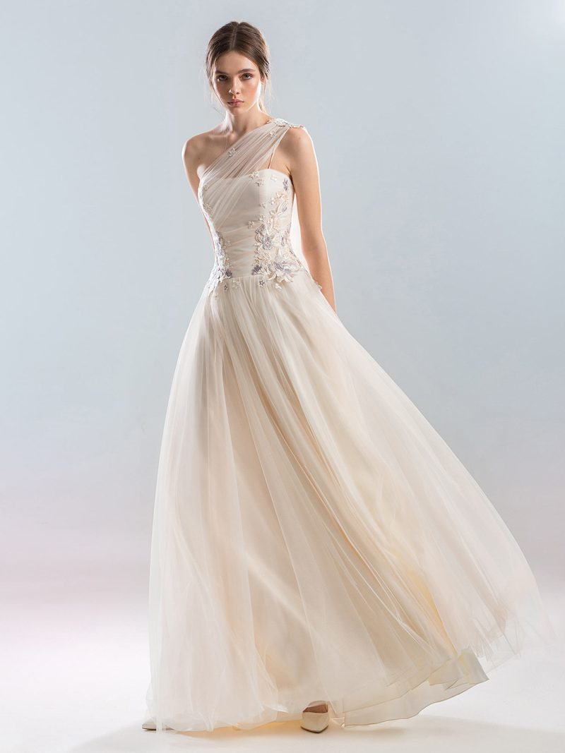 One shouldered A-line wedding dress with floral appliques