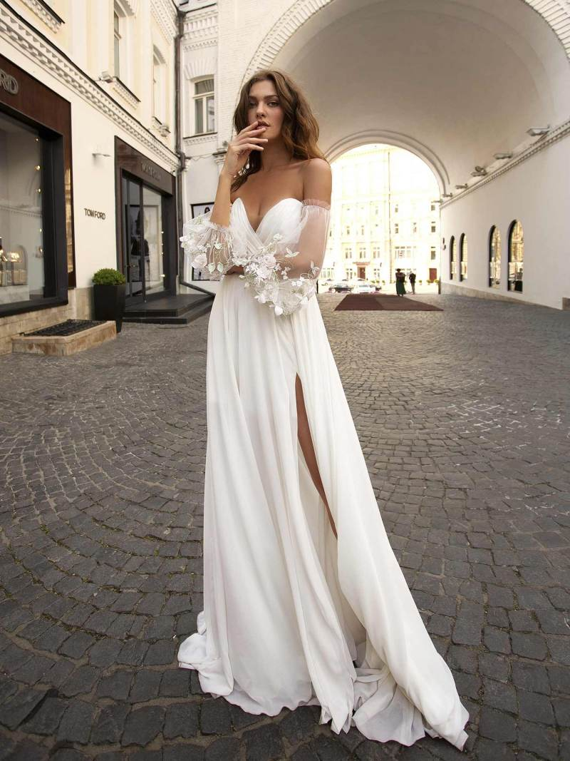 Chiffon wedding dress with off-the-shoulder bishop sleeves and high leg slit