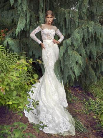 Off-the-shoulder A-line wedding dress