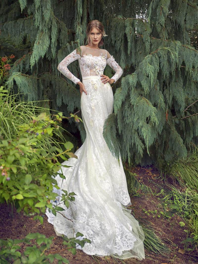 Off-the-shoulder A-line wedding dress with long sleeves
