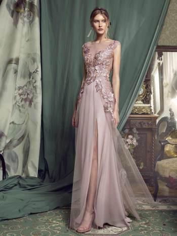 evening gown with 3D floral appliquŽ