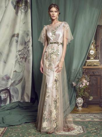 evening dress with butterfly sleeves