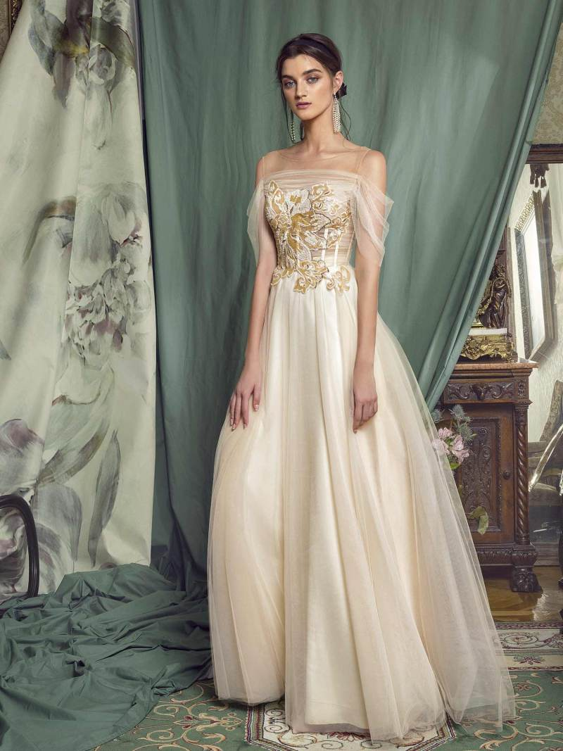A-line evening gown with off-the-shoulder sleeves
