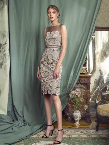 Sheath gown with sequinned embroidery