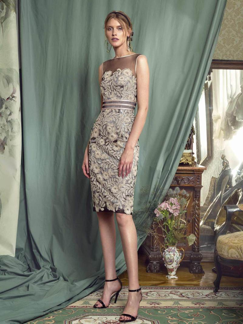 Sheath gown with sequinned embroidery and belted waist