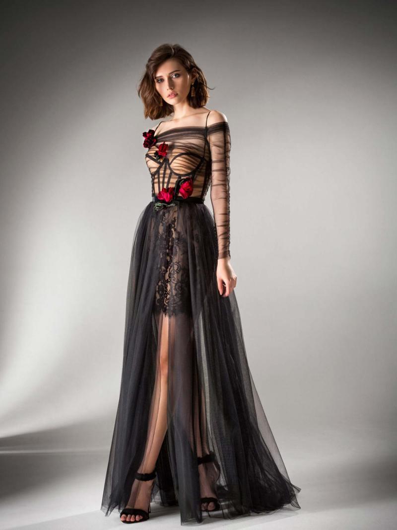 Long sleeved A-line evening dress