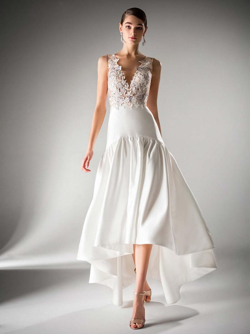 High-low evening gown with dropped waist