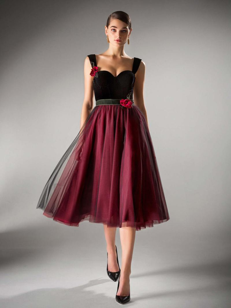 Ball gown evening dress with velvet bustier