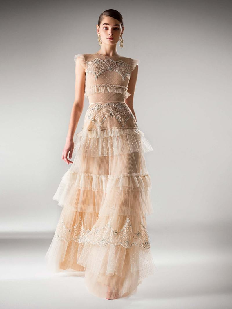 A-line evening dress with tiered skirt