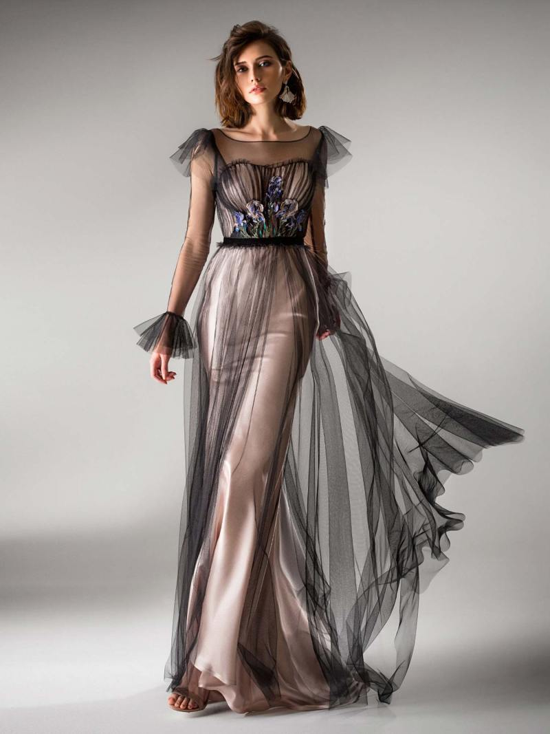 Floor length evening gown with long sleeves