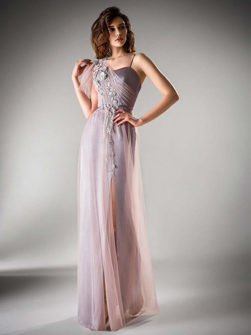 One shoulder evening gown with a slit