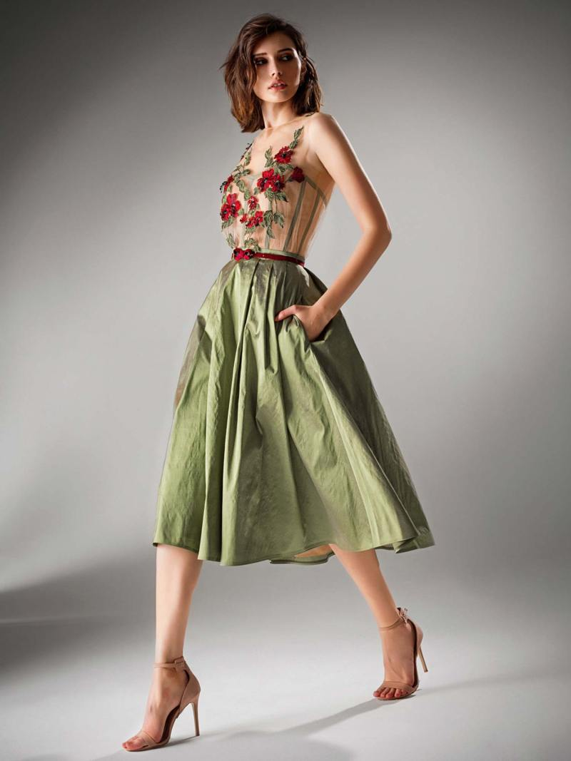 Tea length evening dress with illusion neckline