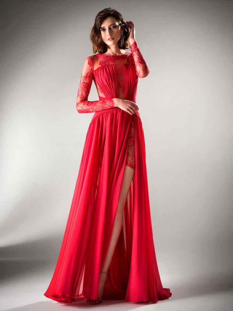 Long sleeved evening dress with slit