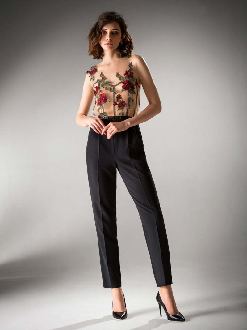Jumpsuit with illusion bodice and flower applique