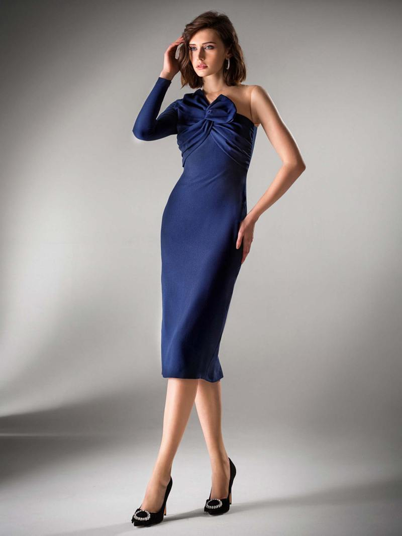 One shoulder fitted dress with bow detail