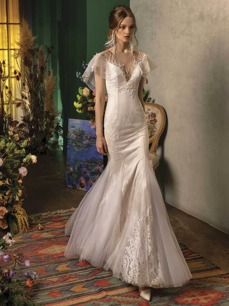 Mermaid wedding dress with butterfly sleeves