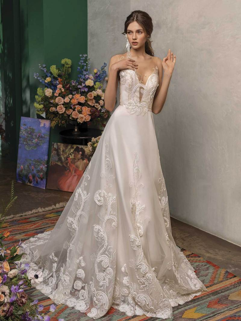 A-line wedding dress with embroidery and plunging neckline
