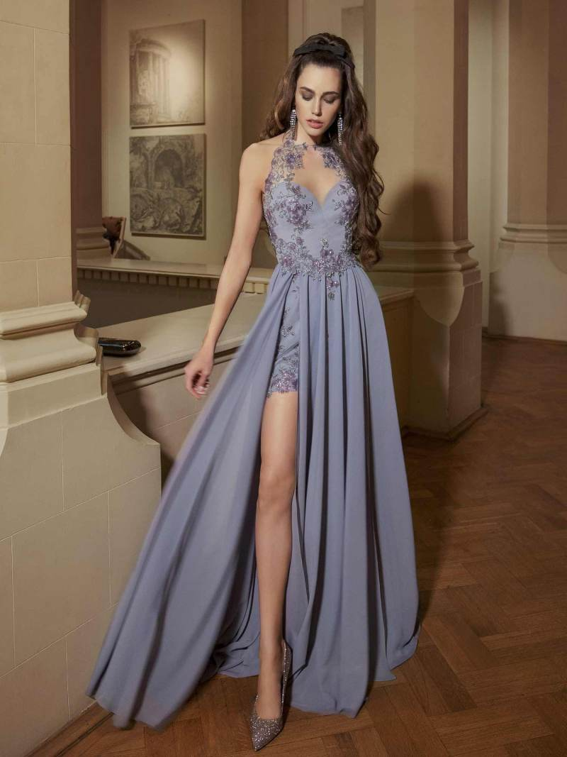 Short dress with halter neckline and floral embellishments