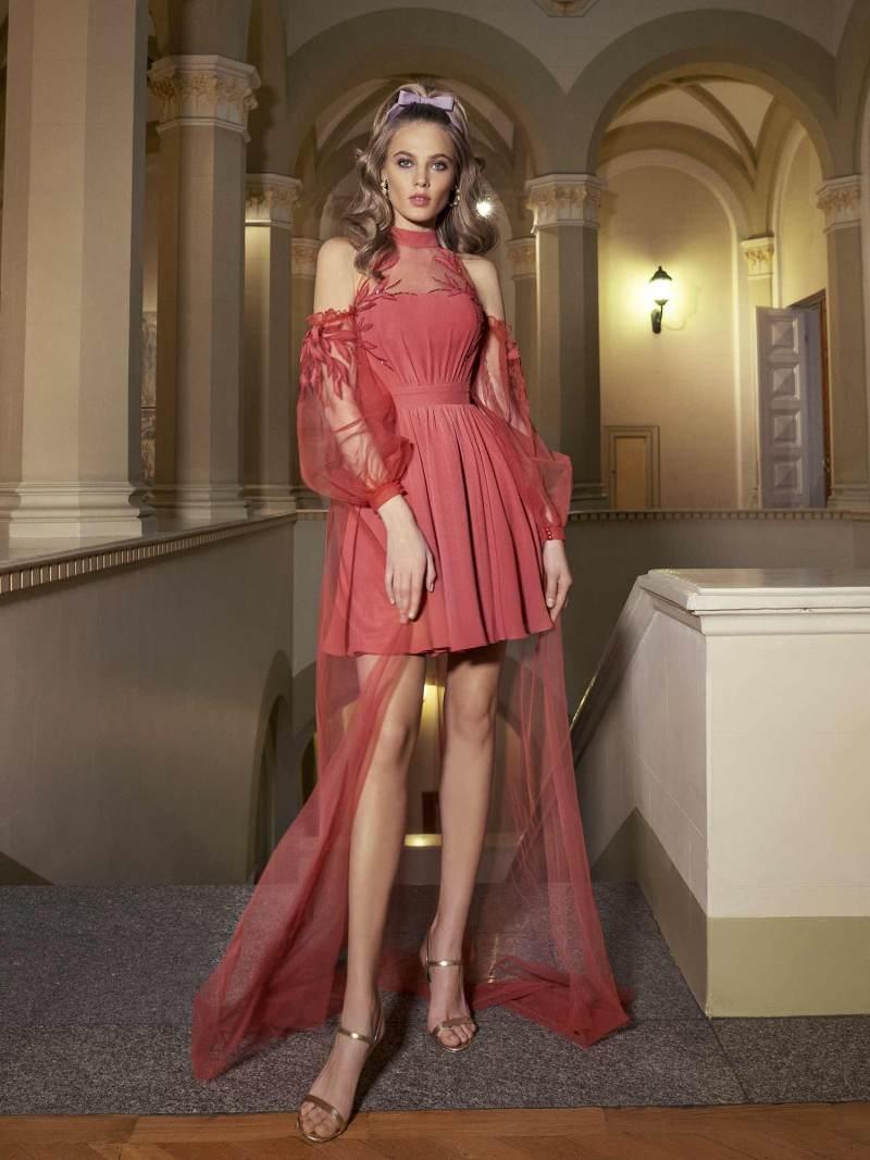 Evening gown with high neckline