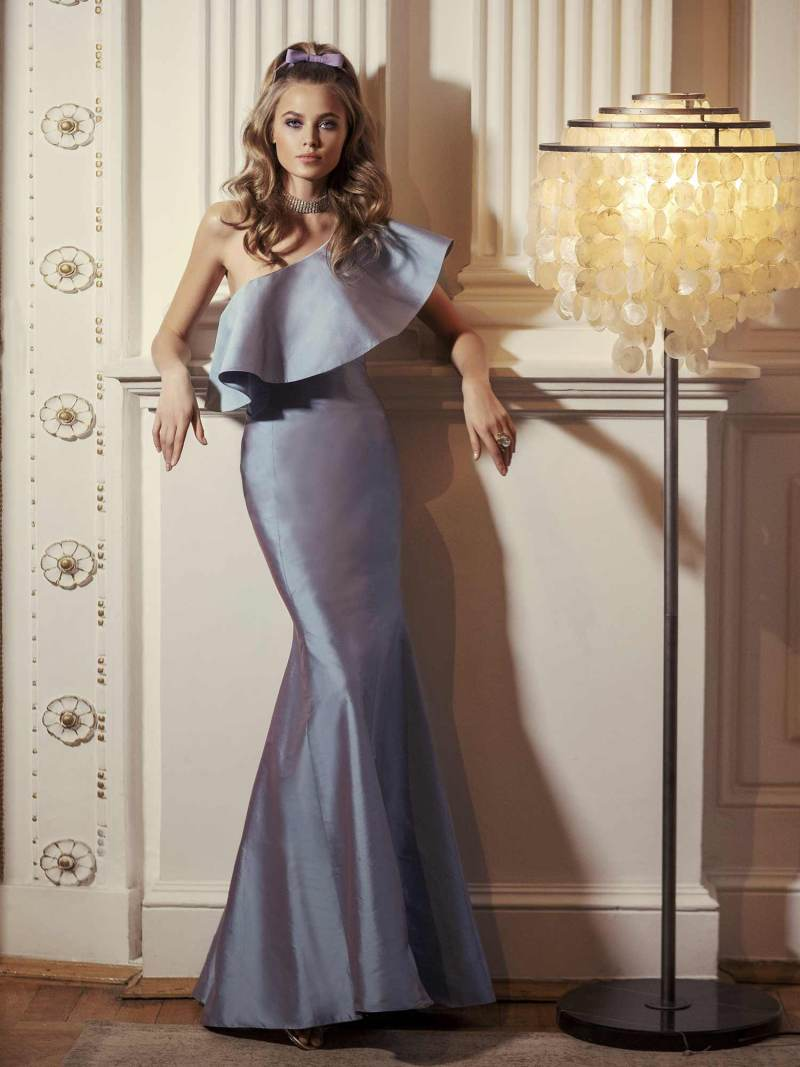 Mermaid maxi dress with one shoulder neckline
