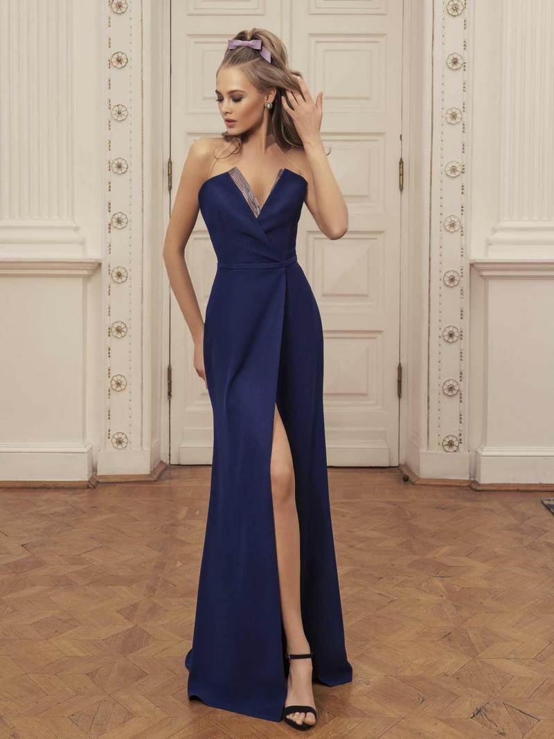 Maxi dress with deep v neckline and slit up leg