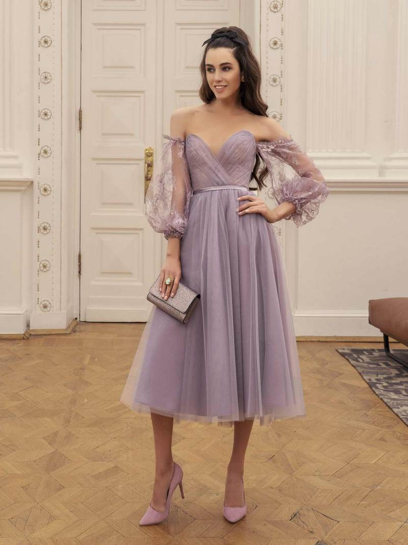 Midi dress with plunging sweetheart neckline and bishop sleeves