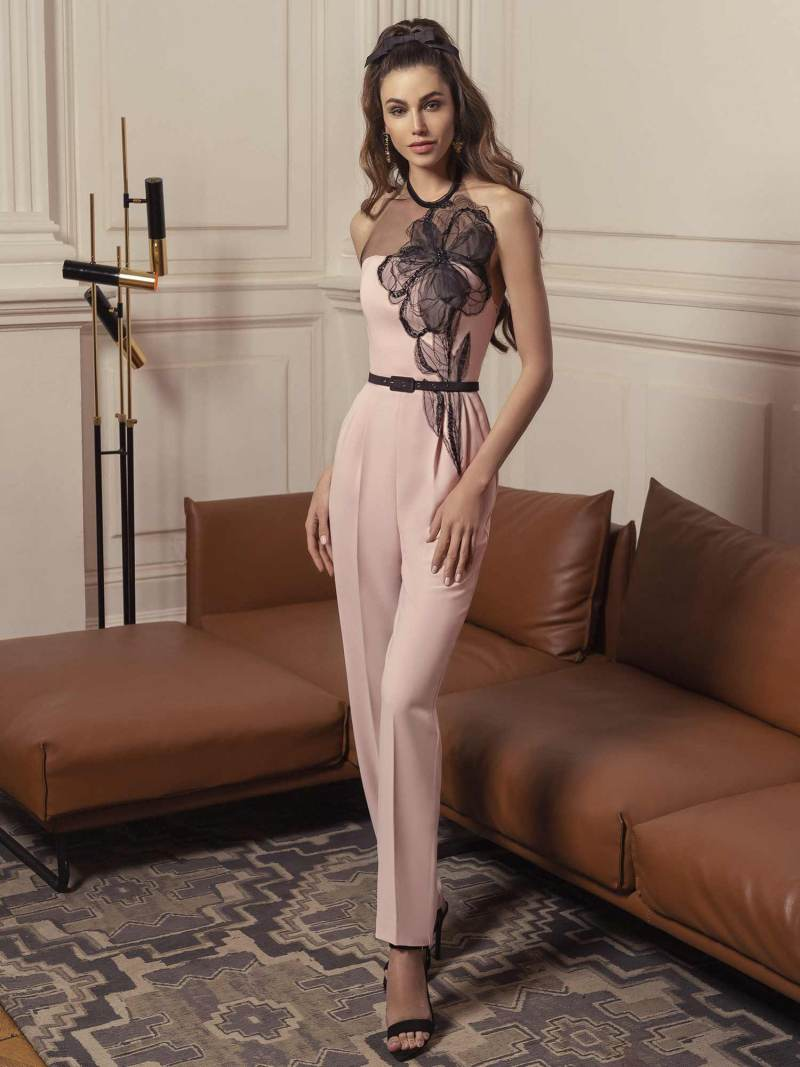 Jumpsuit with floral appliquŽ and sheer black halter straps