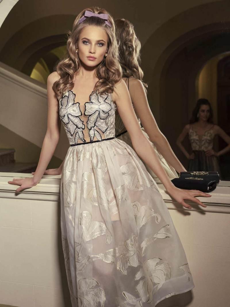 Midi dress with plunging neckline