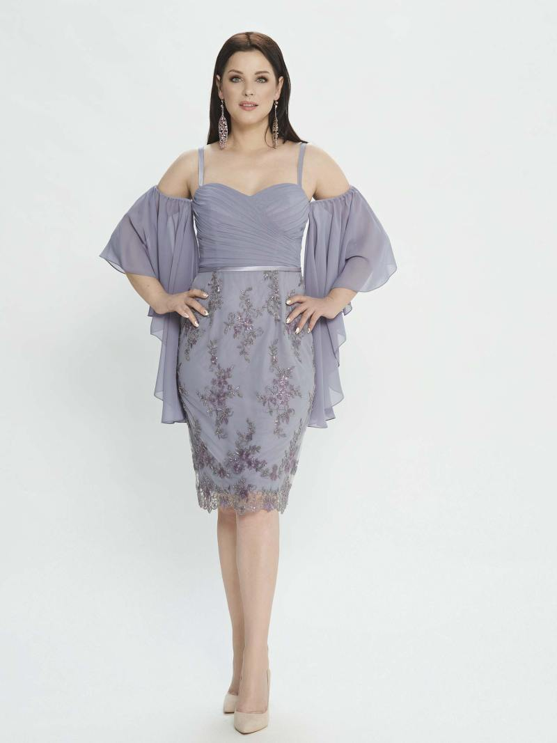 Sheath dress with bell sleeves and embellished skirt