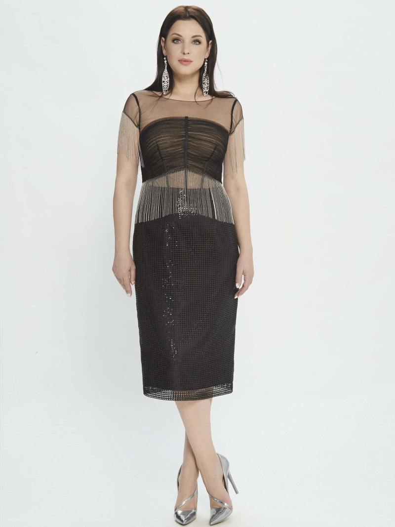 Sheath dress with fringe and sequinned embroidery