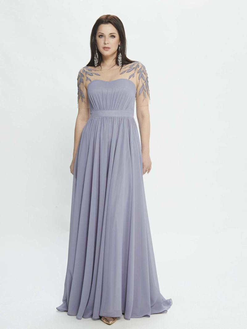 A-line evening dress with embroidered sleeves and illusion back