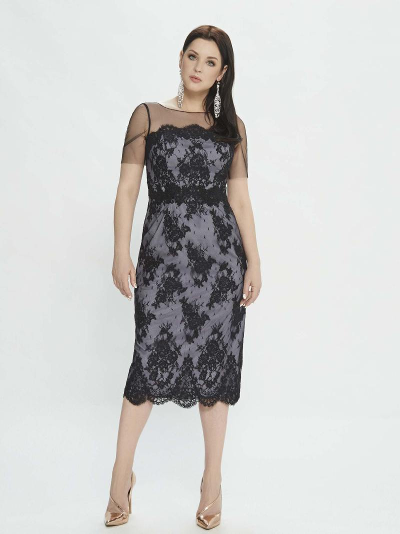 Cocktail dress with illusion sleeves and lace applique