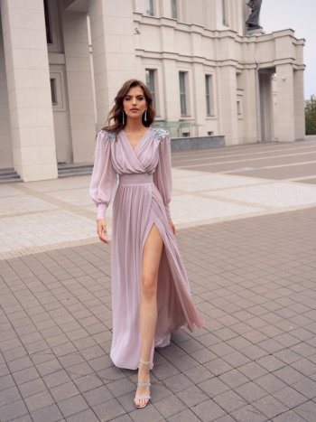 Pastel evening gown with bishop sleeves