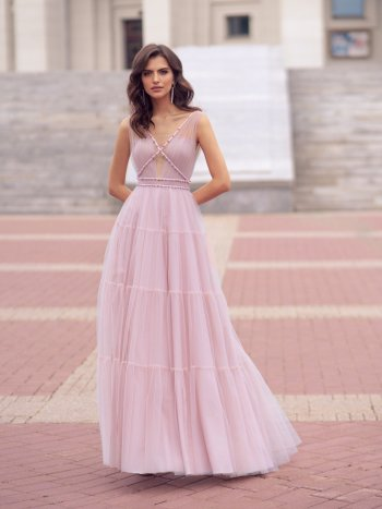 Trendy gown with pearl embellishments and tiered ruffled skirt