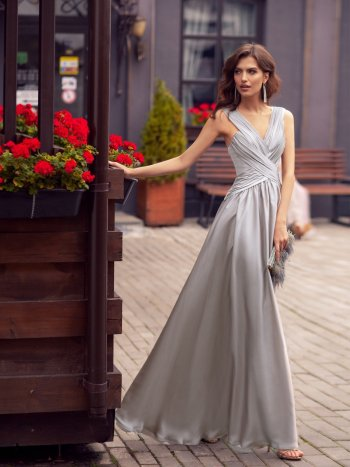 Flattering evening dress with thick straps and deep V neckline