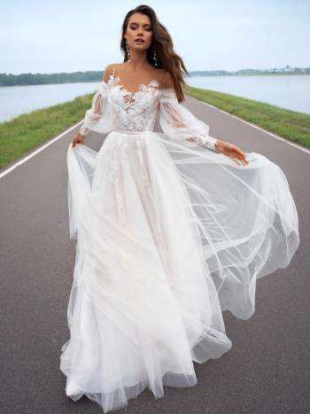 Wedding dress with off-the-shoulder bishop sleeves