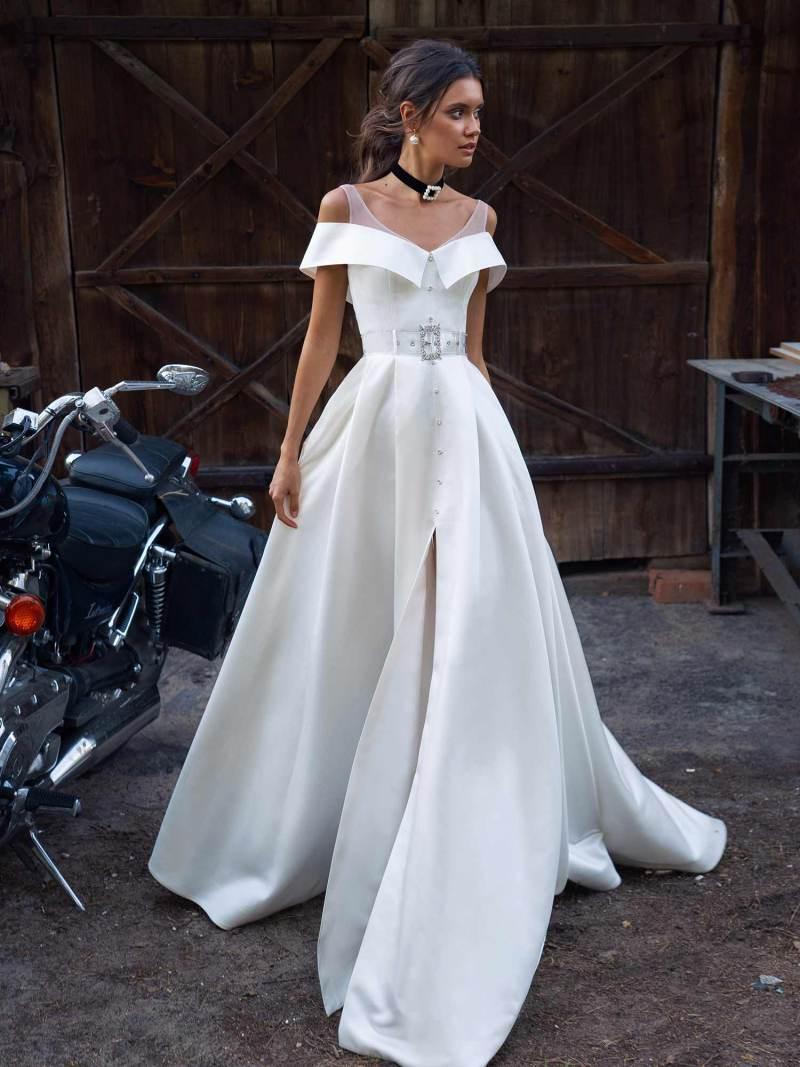 Modern wedding dress with slit up the leg
