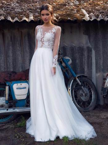 Illusion long-sleeved wedding dress with embroidery