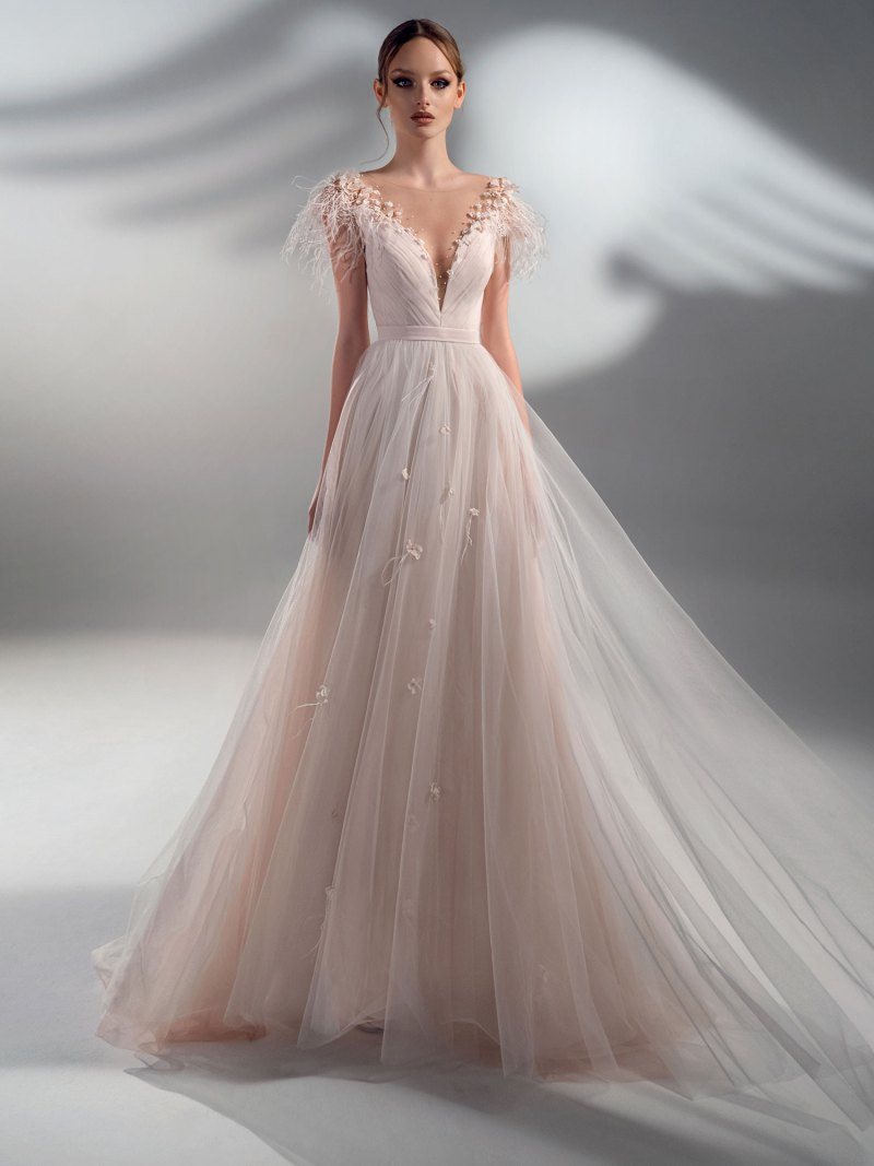 A-line wedding dress with feather decor and cup sleeves